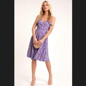 Lulus Daisy Lane Purple Floral Print Midi Dress